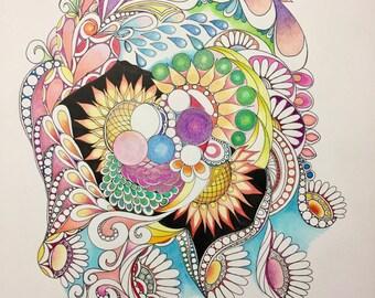 Zentangle flowers,abstract flowers,flower art,colored flowers,colored zentangle,zentangle art,wall art,wall decor