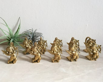 Set of 10 Solid Brass Cupid Cherub Napkin Rings, Angel Baby Holiday Tableware, Made in India 1960's