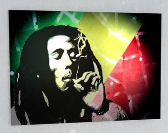 Bob Marley Stencil, Spray Painted, Canvas, Marley, Smoking, Bob, Reggae, Jamaica, Jamaican Art, smoking, reggae, bob marley art, spray paint