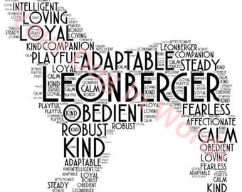 Leonberger dog unique personalised word art print A4 Free post UK