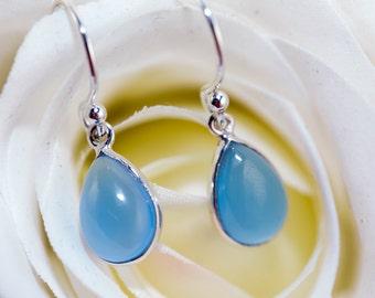 Ocean Blue Chalcedony earrings / blue drop earrings / tear drop earrings / blue crystal drop / Chalcedony earrings