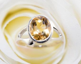 Sterling silver and citrine ring - Handmade sterling silver citrine ring / yellow citrine ring / natural gemstone ring