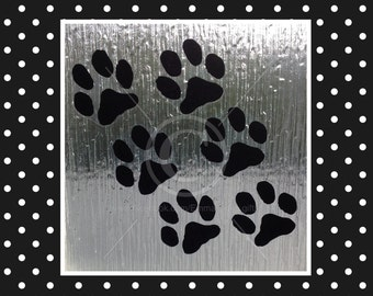 Dog Paw Prints window clings, set of 6 for glass & window areas, reusable faux stained glass effect decal, static cling suncatcher decals