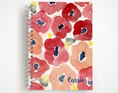 Custom Red Floral Notebook - Personalize with Name | Journal | Studio Carrie Notebook | Gift