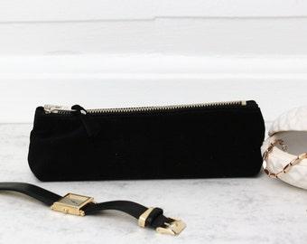 Black Suede Pen Case // Makeup Bag Leather // Back to School // Pencil Pouch Gift // Makeup Brush Bag // Cosmetic Bag // Zipper Pouch