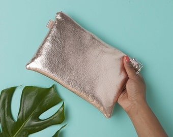 Rose Gold Metallic Leather Bag // Leather Clutch Bag // Bridesmaid Gift // Leather Bag // Bridal Clutch // Statement Bag