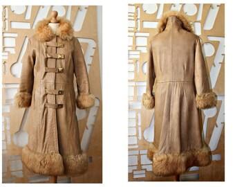 Vintage Leather Coat Shearling coat Full length Outerwear Winter coat Long coat Lamb Fur Coat Shearling Boho Penny lane coat Princess coat