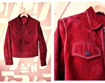 Suede jacket Leather jacket Biker Cropped jacket Short Zipper Jacket Preppy Hipster Grunge Festival Hippie Southwestern Red jacket Bomber