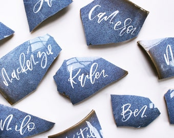 Ceramic Pot Place Cards, Chipped Pot Place Cards, Wedding Place Cards, Place Cards Calligraphy