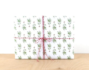 Mistletoe Holiday Gift Wrap, Gift Wrap Paper, Designer Wrapping Paper, Holiday Wrapping Paper, Mistletoe Christmas Gift Wrap, Wrapping Paper