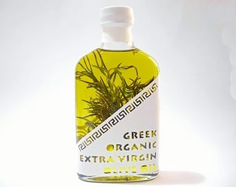 Greek Organic Extra Virgin Olive Oil Rosemary Infused-  Cold Extraction - Superior Quality -  0,2lt / 6.8oz