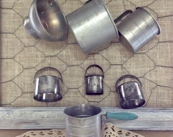 Vintage Aluminum Kitchen Tools - Utensils - 3 Measuring Cups - 3 piece Nesting Biscuit/ Pastry Cutters - Canning Funnel - Farm House Kitchen