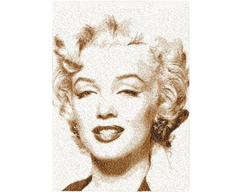 BIG hoop photorealistic MARILYN Monroe close up Machine Embroidery Design File, digital download