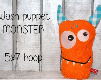 WAS-004 - 5x7 hoop - Wash Puppet - MONSTER - ITH - In The Hoop - Machine Embroidery Design File, digital download