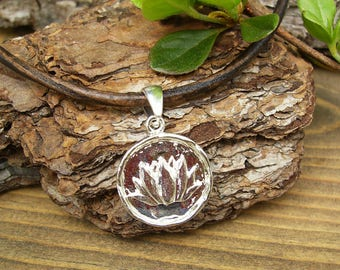 Lotus Flower Necklace, Silver Lotus Pendant Necklace, Custom Leather Necklace or Choker, Zen Yoga Jewelry, Nature, Casual, Spiritual, Trendy