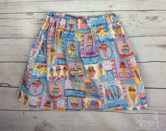 Ice cream print cotton skirt
