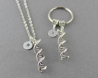 Matching Set DNA Necklace & DNA Keychain,Double Helix Necklace,DNA Strand Necklace and dna Keychain Set,Geeky Gift Set,Smary People Stuff