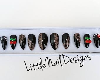 Hand painted swarovski crystal rockabilly false nails