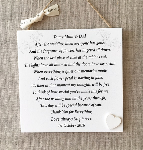 Parents Thank You Wedding Gift: Parents Thank You Wedding Gift Personalised Mum By