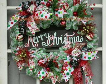 Merry Christmas Wreath, Deco Mesh Wreath, Christmas Wreath, Whimsical Wreath, Christmas Decor, Holiday Decor, XL Wreath