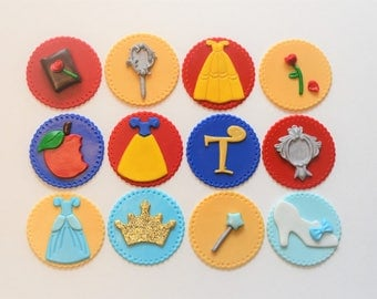 Princess cupcake toppers, Beauty and the Beast, Cinderella, Snow White, cupcakes, Disney princess inspired fondant cupcake toppers