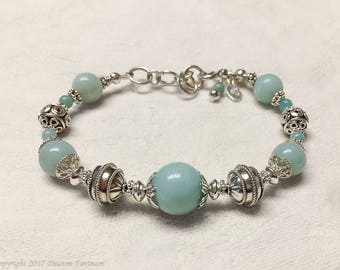 Amazonite and .925 Sterling Silver Bracelet