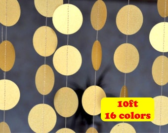 Gold Circle Wedding Garland 10 ft Christmas paper gold garland Birthday Party Decor Baby Shower Bridal shower decorations