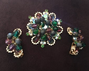"Juliana D&E ""Mardi Gras"" Blue, Purple, Green and Iridescent Beaded Brooch and Earring Set 0865"
