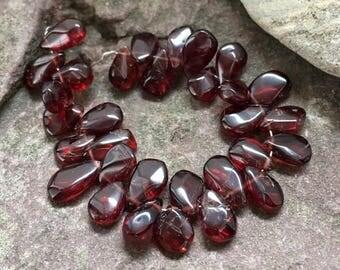 Garnet, teardrop gemstones, red stone, center drilled teardrops, faceted garnet