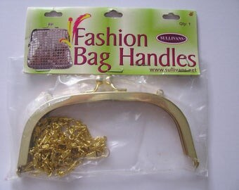Metal Bag Frame with Chain Strap Handbag Evening Kiss Lock Clasp Clutch Shoulder Bag Purse Making glue in channel Shiny Gold Brass