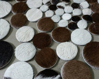 100 Pcs, Mixed 5 Sizes 10 mm. 15 mm. 20 mm. 25 mm. 30 mm., Hair on Cow Hide Circles, Hair on Cow Hide Leather Die Cut.