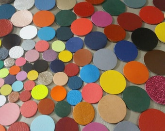 Leather Circles, 8 Sizes 10mm. 12mm. 15mm. 20mm. 25mm. 30mm. 35mm. 40mm., Mixed Colors, Leather Circles Die Cut,DIY Projects.