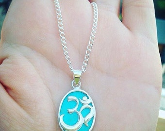 Sterling Silver Om Pendant Neckalce Made With Enhanced Howlite/ Turquoise~ With An 18 Inch Silver Plated Chain~ 925