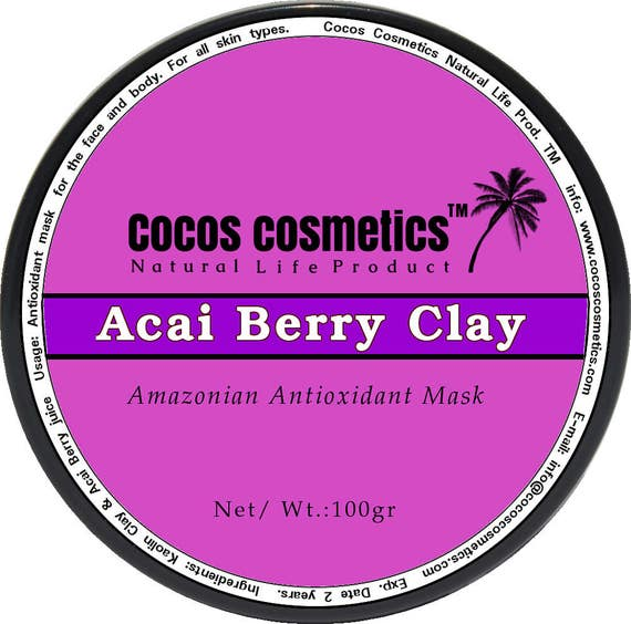 Acai Berry Clay - 100% Natural Brazilian Acai Berry - Antioxidant and Vitamins facial clay detox mask