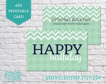 Printable Navy and Mint Chevron Happy Birthday 4x6 Card | Digital JPG File, Instant Download