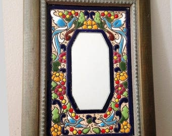 COLORFUL MEXICAN Hand Painted Small Mirror, Vibrant Artsy Mexican Mirror, Artisan Tile Mirror