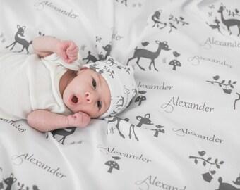 Personalized Baby Blanket- Gray Deer Baby Swaddle- Deer Baby Receiving Blanket- Deer Baby Shower Gift- Deer Baby Blanket and Hat Set