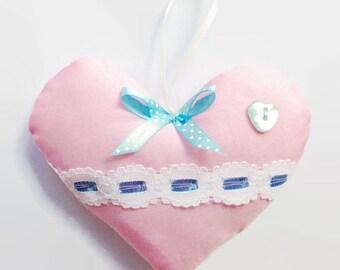 Baby pink hanging heart / new baby girl gift
