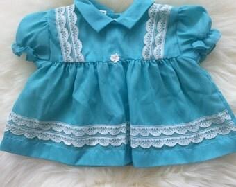 Vintage 60's robin's egg blue baby girl dress