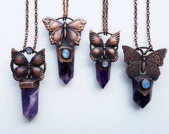 Amethyst Butterfly Crystal Necklaces-Butterfly Necklace-Electroformed Amethyst Points-Electroformed Jewelry-Amethyst Crystal Necklaces