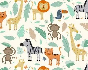 Baby Jungle Scenic Animal Lion Monkey Tiger Giraffe Toucan Zebra on Cream Nursery Cotton Fabric by Makower