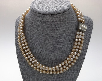 Vintage Pearls, Faux Pearls, Triple Strand Pearls, 3 Row Pearls, Champagne Pearls, Beige Pearls, Rhinestone Clasp, Beige Pearl Necklace