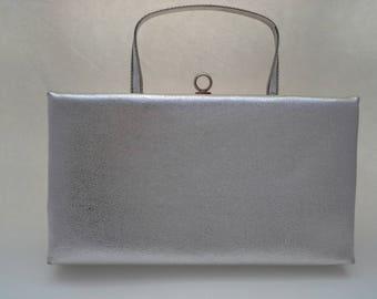 Vintage Silver Clutch, Silver Evening Bag, After Five Clutch, Wedding Purse, Prom Purse, Silver Purse, Metallic Clutch, Silver Formal Bag