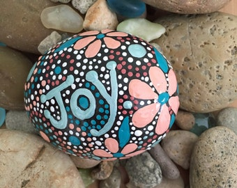 Rock Art, Hand Painted Rock, Painted Stone, Mandala Design, One-of-a-Kind Gift, Joy, Natural Home Decor, rock word collection #11