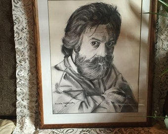 Charcoal Drawing signed by Michele kashansky framed.