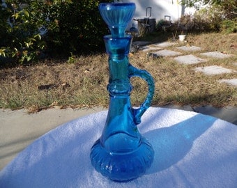 Colonial Blue Glass Decanter with Glass Stopper