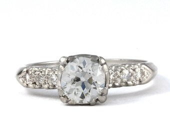 Vintage diamond engagement ring | Old European diamond engagement ring. .90 ct. | platinum | Circa 1930.