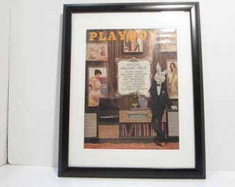Vintage Playboy Magazine Cover Matted Framed : January 1962