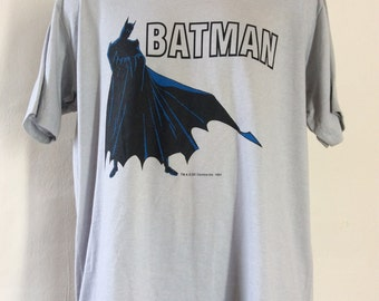 Vtg 80s NWT Batman T-Shirt Gray XL DC Comic Books Soft 50/50