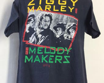 Vtg 80s Ziggy Marley And The Melody Makers T-Shirt Black L/XL Reggae Band Bob Marley